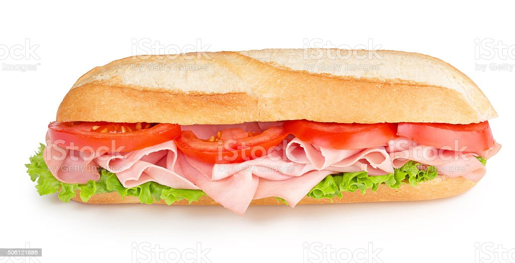 sub with ham, tomato and lettuce stock photo