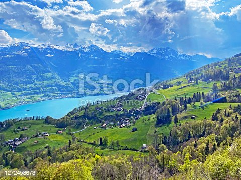 Subalpine settlement Walenstadtberg at the foot of the Churfirsten mountain range and above lake Walensee - Canton of St. Gallen, Switzerland (Kanton St. Gallen, Schweiz)