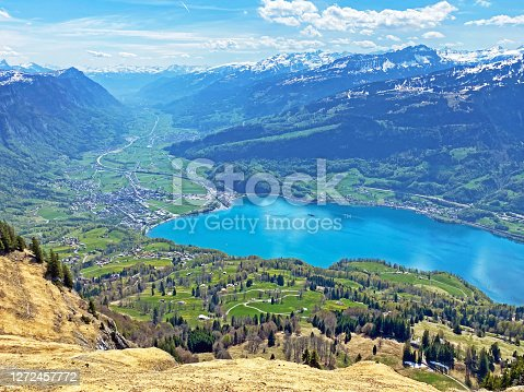 Subalpine valley Seeztal and lake Walensee, between the mountain ranges of Churfirsten and Glarus Alps, Walenstadtberg - Canton of St. Gallen, Switzerland (Kanton St. Gallen, Schweiz)