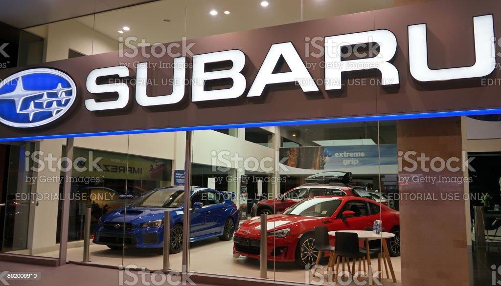 Subaru automobile dealership on Forbes Street stock photo