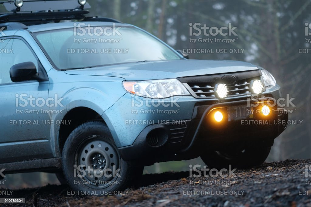 2012 Subaru Forester Off Road In Misty Forest Stock Photo Download Image Now Istock