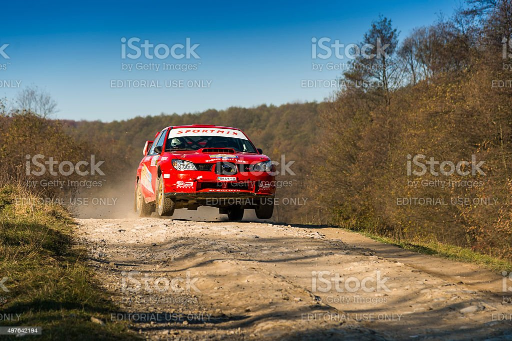 Subaru Impreza WRX STI  competes at the annual Rally Galicia stock photo