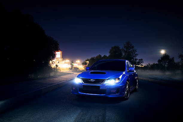 Subaru Impreza WRX STI stay on asphalt countryside road stock photo