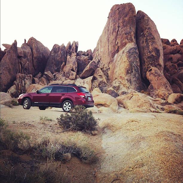 Subaru in the Alabama Hills stock photo