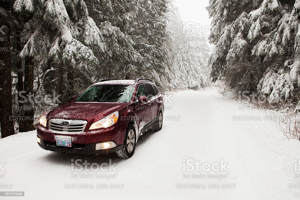 Subaru Outback in the snow stock photo