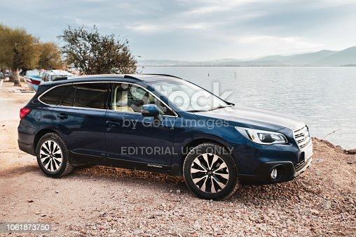 Izmir, Turkey - November 12, 2017: Test drive of a Subaru Outback. The first geneneration of Outback was debut in 1995 on the market. The crossover/combi from Subaru is powered by 2.0-litre diesel boxer engine (pushing out 150 HP) or 2.5-litre petrol boxer engine (pushing out 175 HP). The Outback with boxer engines is the one of the most original cars on the market.