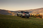 istock Subaru Outback with permanent all-wheel drive on the mountain roads. Model 2019, 175 hp engine 1223431427