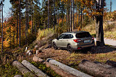 istock Subaru Outback with permanent all-wheel drive on the mountain roads. Model 2019, 175 hp engine 1223431431
