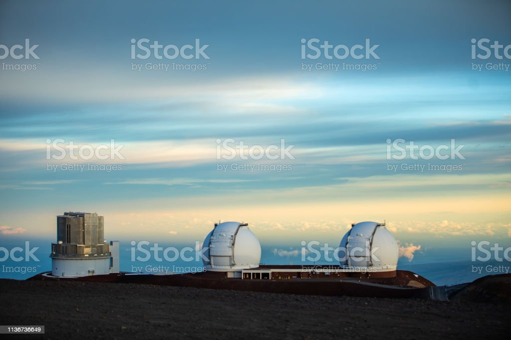 Subaru Telescope and W.M. Keck Observatory on Mauna Kea Mountain - Big Island Hawaii USA stock photo