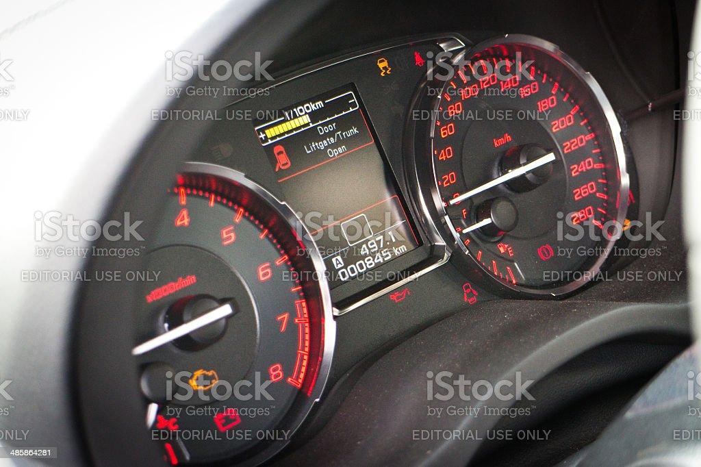 Subaru WRX STI 2014 2015 Speed Meter royalty-free stock photo