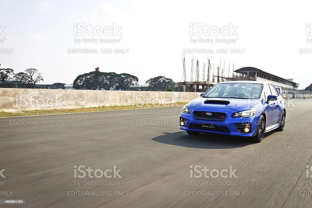 Subaru WRX STI 2014 2015 Speed Photo in Race Track royalty-free stock photo