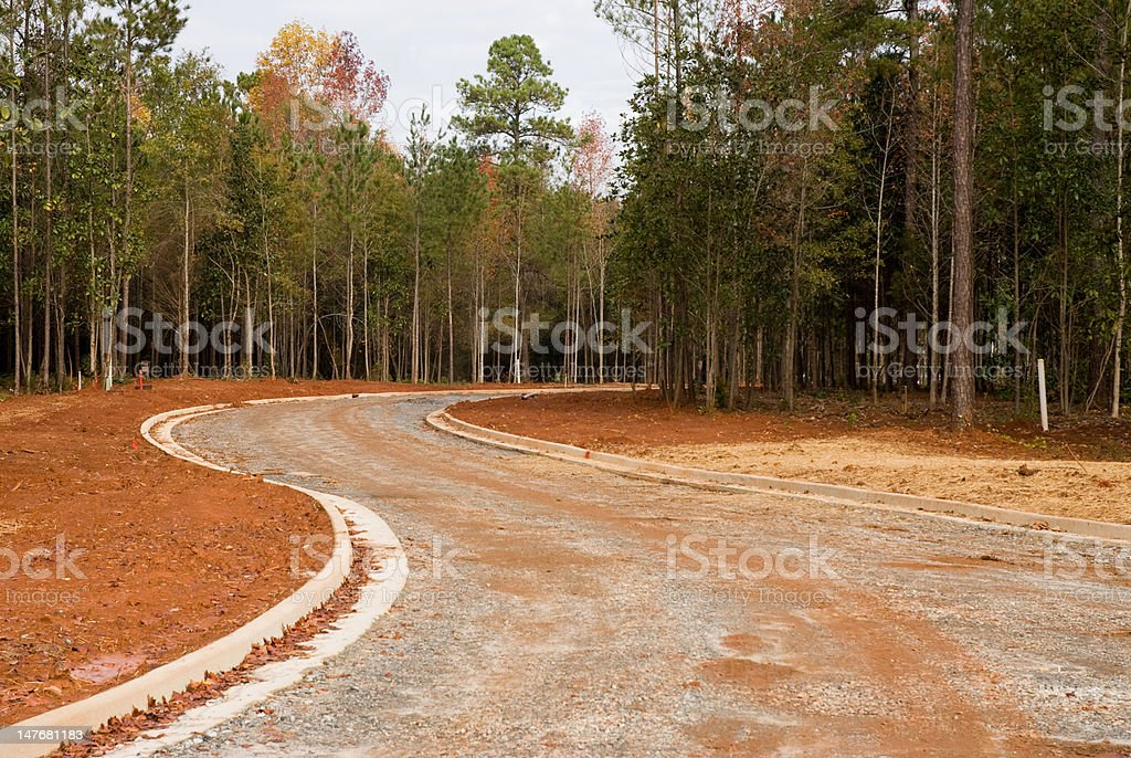 subdivision and road construction royalty-free stock photo