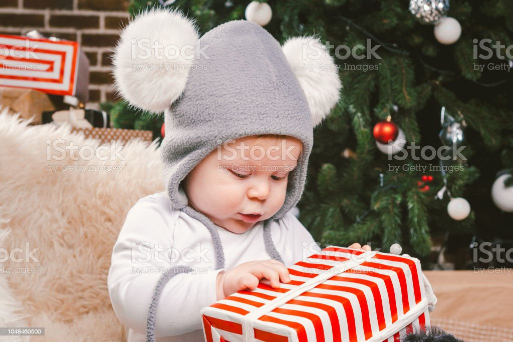 official store new list new arrivals Subject Children Christmas New Year Caucasian Little Funny Baby Boy 1 Year  Old Sitting Sleigh Bear Skin Christmas Tree Head Warm Hat With Balabons ...
