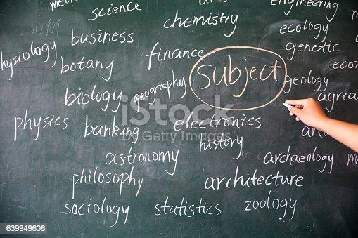 istock subjects on blackboard in school 639949606