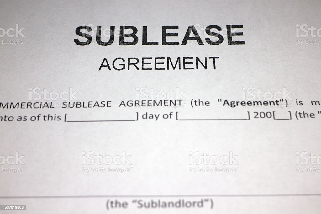 Sublease Agreement Form stock photo