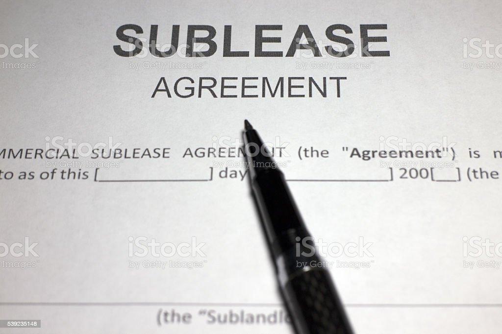 Subarrendamiento de contrato foto de stock libre de derechos