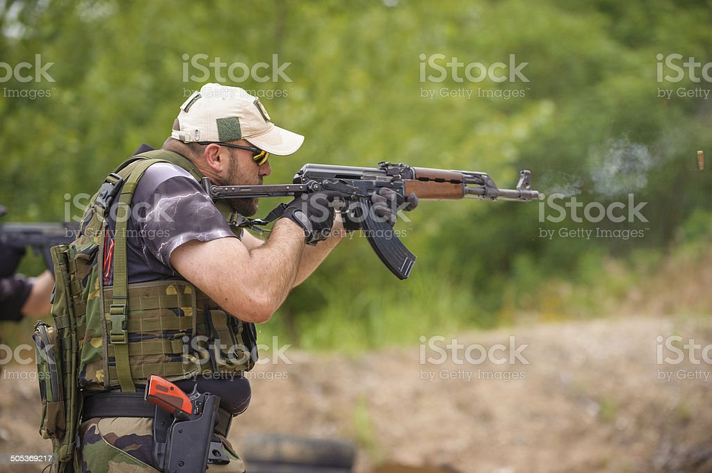 Submachine Gun. Outdoor Shooting Range stock photo