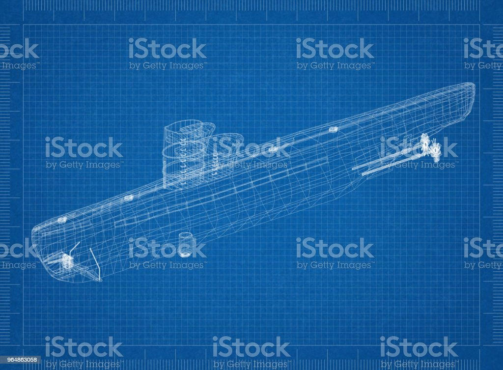 submarine Architect blueprint royalty-free stock photo