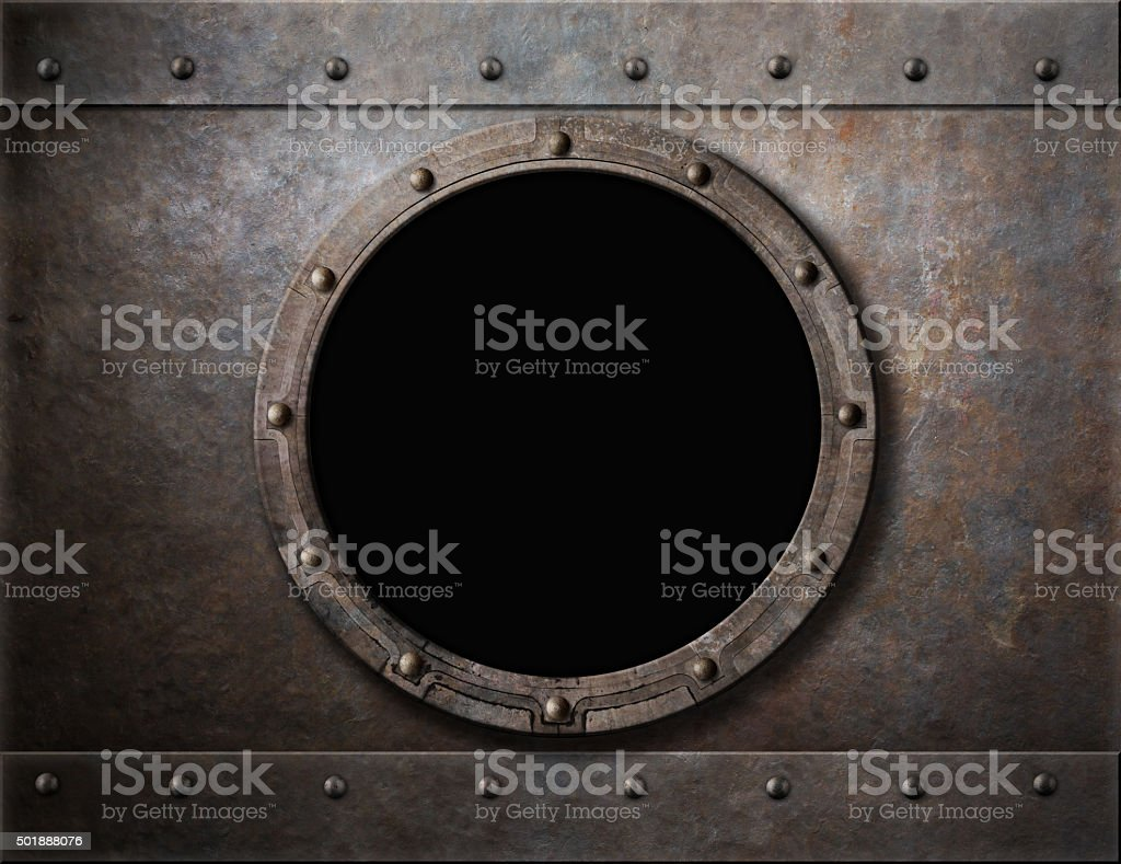 submarine armoured porthole or window metal background stock photo