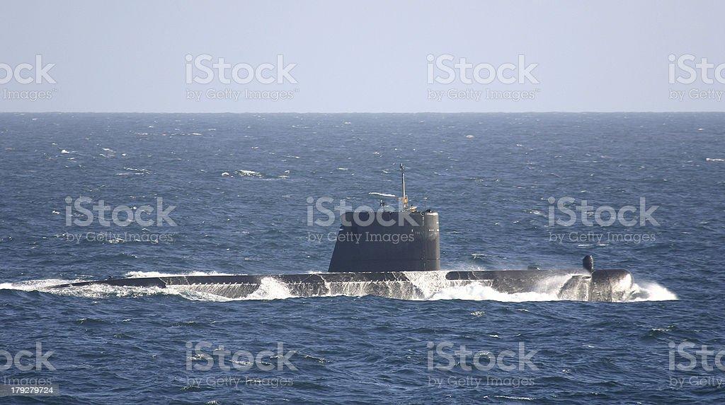 Submarine at sea stock photo