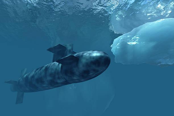 Submarine beneath polar ice stock photo