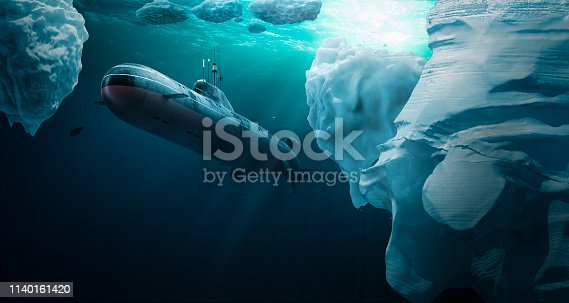 Submarine dives under the ice to explore the surroundings