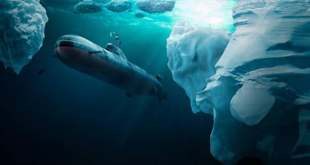 submarino bucea bajo el hielo - submarino fotografías e imágenes de stock