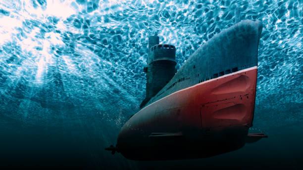 Submarine in the deep sea stock photo