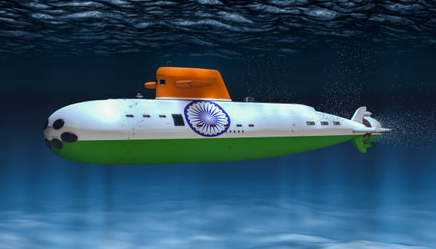 Submarine of Indian Navy, concept. 3D rendering stock photo