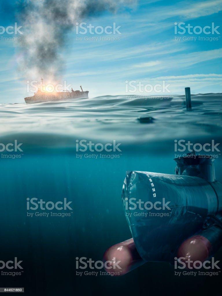 submarine on patrol stock photo