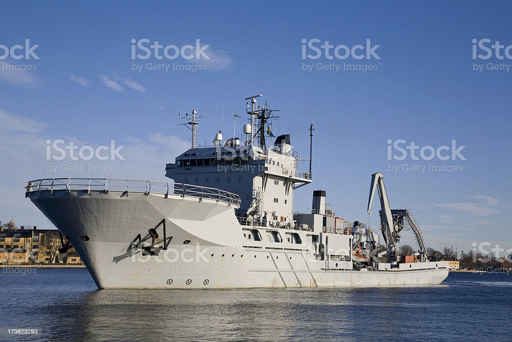 Submarine rescue ship arrives in Stockholm. stock photo