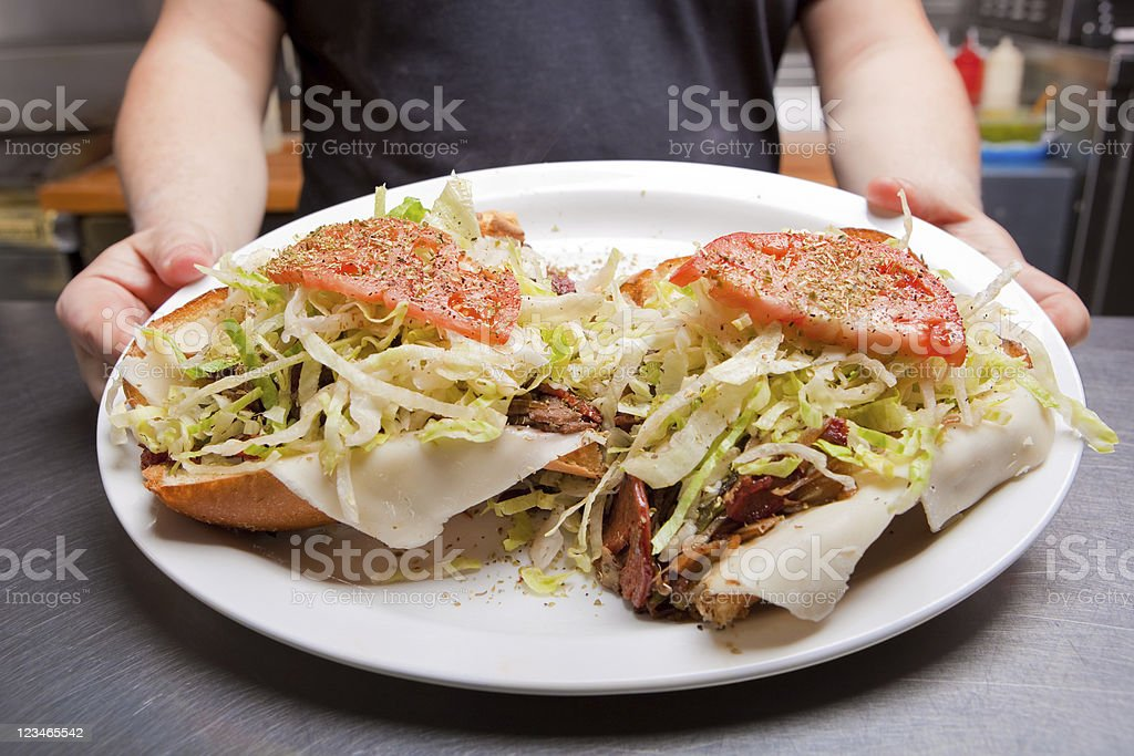 Submarine Sandwich with Steak and Pepperoni stock photo