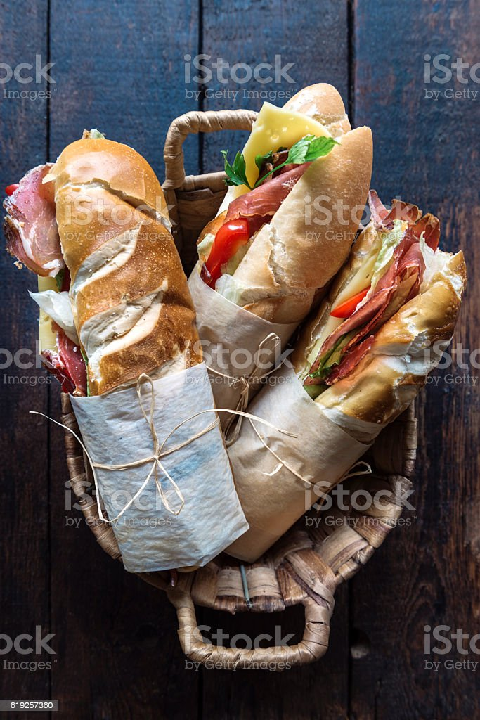 Submarine sandwiches in the basket stock photo