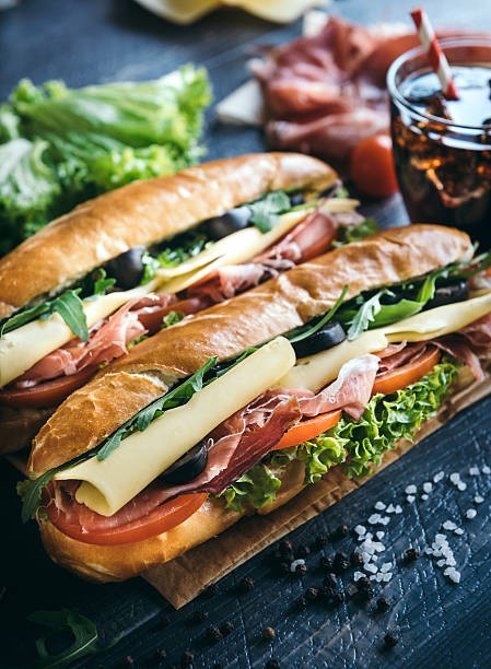 submarine sandwiches served - cheese sandwich bildbanksfoton och bilder