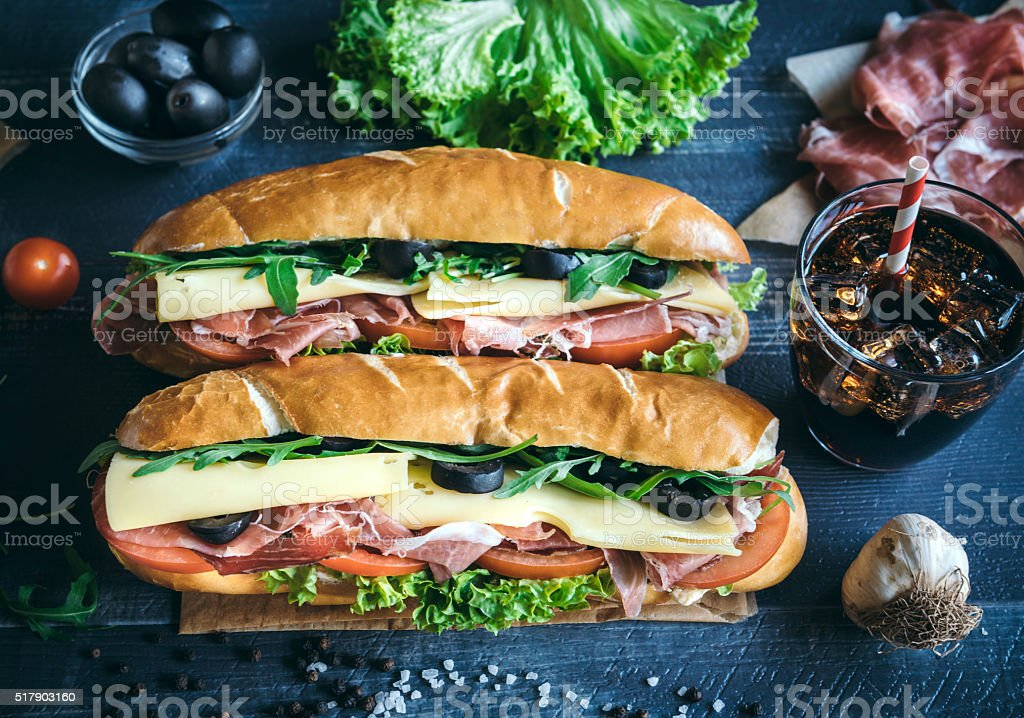 Submarine sandwiches served stock photo