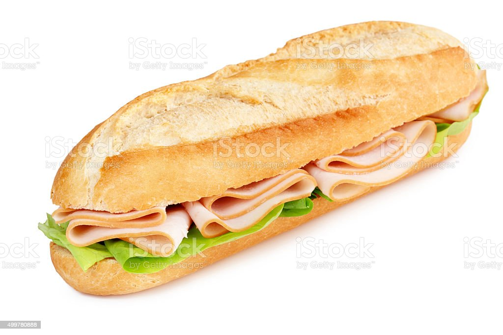 submarine with turkey breast and lettuce stock photo