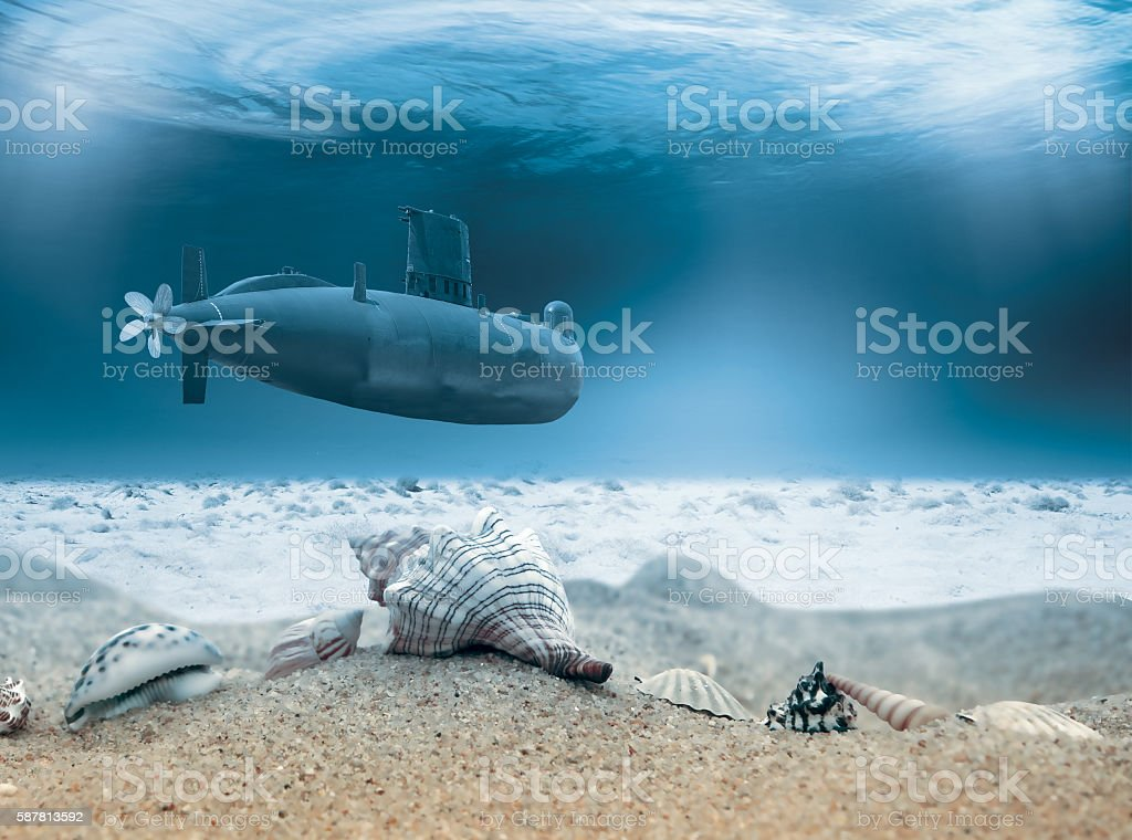 Submariner under the water stock photo