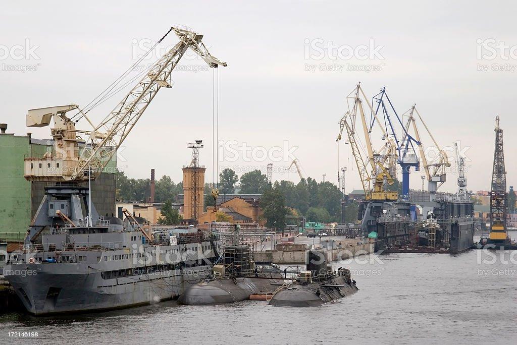 Submarines, St Petersburg dockyard, Russia royalty-free stock photo