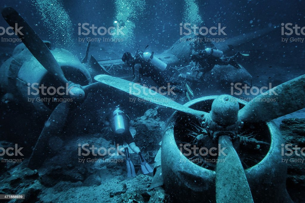 Submerged And Ruined Propeller Plane in Aegean Sea, Bodrum, Turkey stock photo