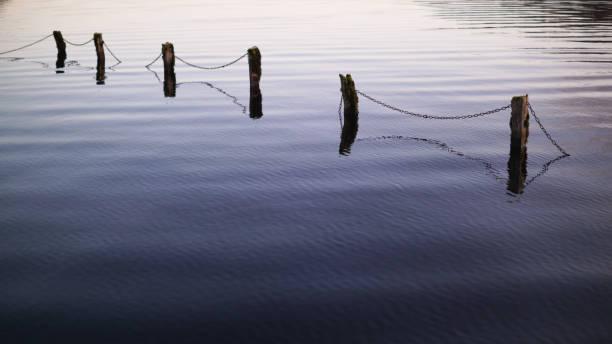 Submerged Fence 2 stock photo