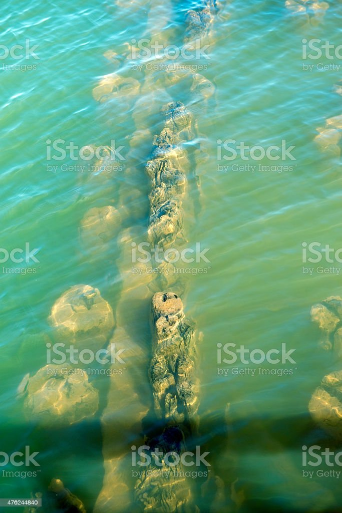 Submerged footings of old ore dock in Lake Superior stock photo