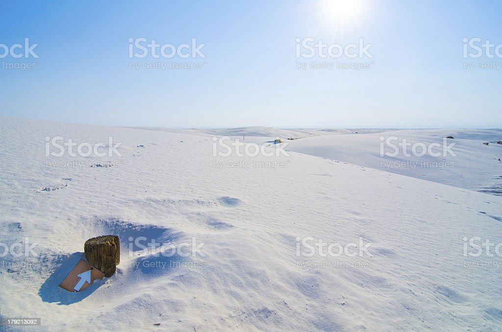Submerged Signpost at White Sands, New Mexico royalty-free stock photo
