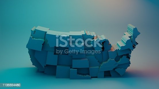 istock Submerging 3D USA Map with states in different plane elevations 1135554480