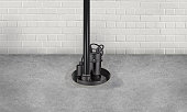 istock Submersible water Pump for flood prevention in a basement floor 1169144999