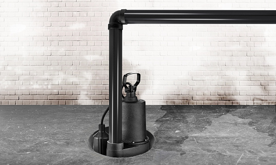 Submersible water Pump for flood prevention in a wet and dark concrete basement