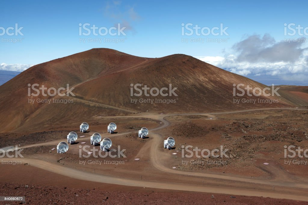 Submillimeter Array, Mauna Kea, Hawaii stock photo