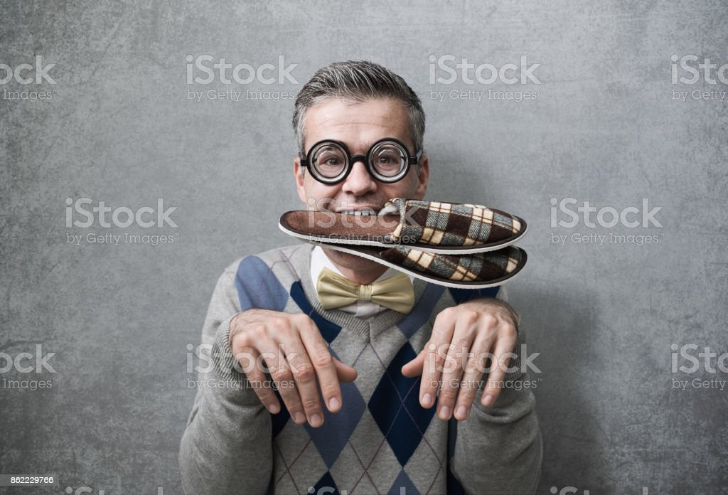 Submissive man acting like a dog stock photo