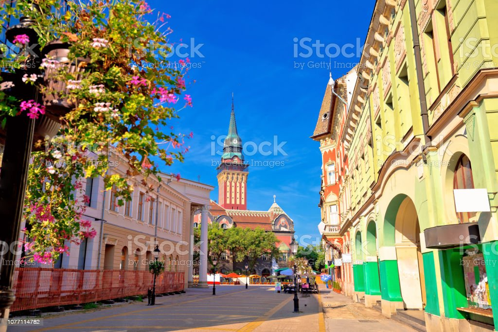 Subotica city hall and main square colorful street view, Vojvodina region of Serbia royalty-free stock photo