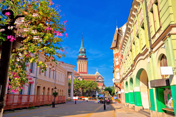 subotica city hall and main square colorful street view, vojvodina region of serbia - serbia stock photos and pictures