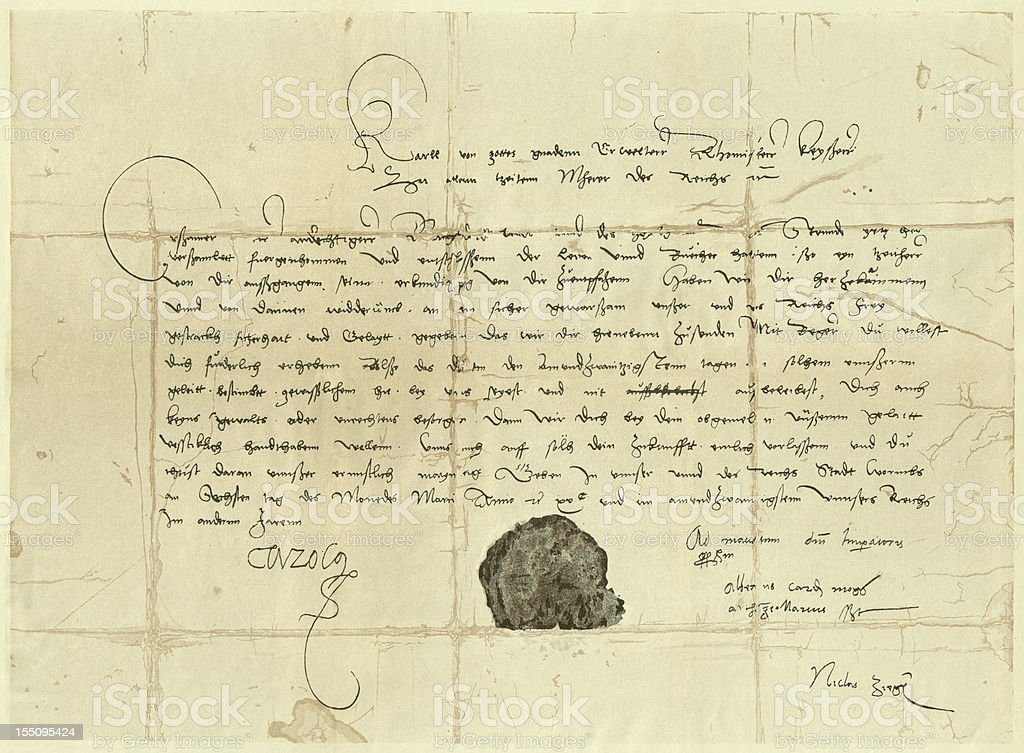Subpoena letter to Martin Luther, 1521, publ. 1881 royalty-free stock photo